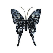 FUNIQUE Sequins Butterfly Sew On Patches For Clothing Embroidered Appliques Apparel Stickers Bags DIY Needlework Fabric Badges