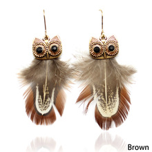 Vintage Beads Plated Ethnic Peacock Feather Owl Earrings For Women Gift Drop Earrings Bohemia Style Peacock Feather(China)