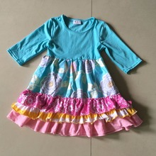 2017Hot Sale New style Summer and Autumn solid color on top with Regular Sleeves Baby Girls Dress Apparel Accessory(China)