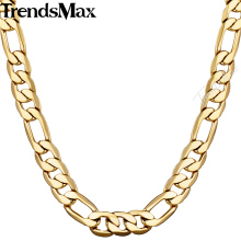 Trendsmax 5/6/9/10mm 55cm 60cm Necklace For Men Figaro Chain Gold Filled Women Gold Jewelry GNM53(Hong Kong)