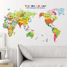 PVC Colorful Animals World Map Wall Stickers Art Decals Mural Removable Stickers Kids Bedroom Playroom DIY Decoration 70X50cm