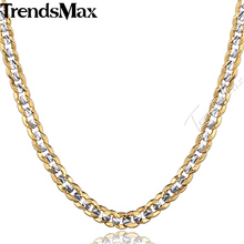 Trendsmax 6mm 60cm 70cm Gold Chain for Men Women's Necklace Gold Filled Curb Cuban Chain GN275(Hong Kong)