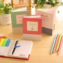 Small Fresh High-grade Hard shell Sticky combination Notebook With Pen Trivial Book Notepad Office school Memo Pad Color Random