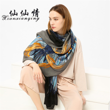 XIANXIANQING Winter Printing Foulard Scarf Black Blue Color Lady Shawls Eagle Pattern Bandana Retro Style Sunscreen Scarves AL90(China)