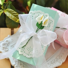 20 pcs/lot Tiffany Blue Pink With Ribbon Flower Wedding Favors Gift Boxes Baby Shower Party Favor Box Pregnancy Announcement
