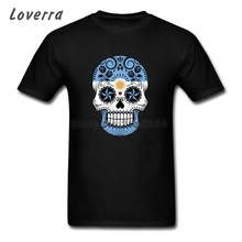 Cotton Jersey Tshirt Argentina Flag Sugar Skull Men T-Shirts Short Sleeve Fitness XS-XXXL Tops&Tees Man Brand Clothing(China)