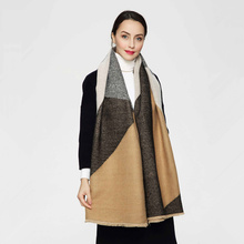 High Quality New Fashion Women and Men Big Plaid Khaki Mix Grey Color Thick Winter Scarf Long Shawl Euro Designer Scarves(China)