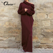 Buy Celmia 2017 Autumn Winter Women Party Dresses Sexy Vintage Casual Long Sleeve Pockets Hooded Long Maxi Dress Plus Size Hoodies for $15.39 in AliExpress store