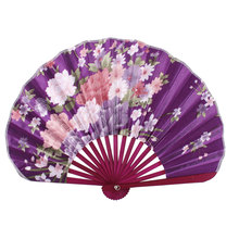 Uxcell Wood Ribs Seashell Shape Chrysanthemum Printed Foldable Hand Fan Purple Burgundy . | blue | flower | pink | purple | red