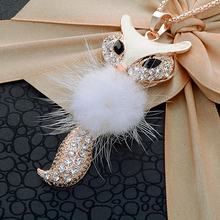 Hot sell Women's Rhinestone Feather Cute Fox Pendant Long statement necklaces & pendants W(China)
