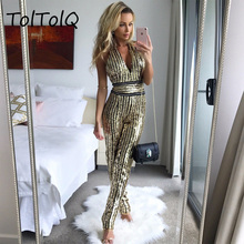 Buy TolTolQ Sexy Deep V Neck Women Jumpsuit Sleeveless Halter Backless Sequined Rompers Womens Jumpsuit Halter Club Party Playsuit