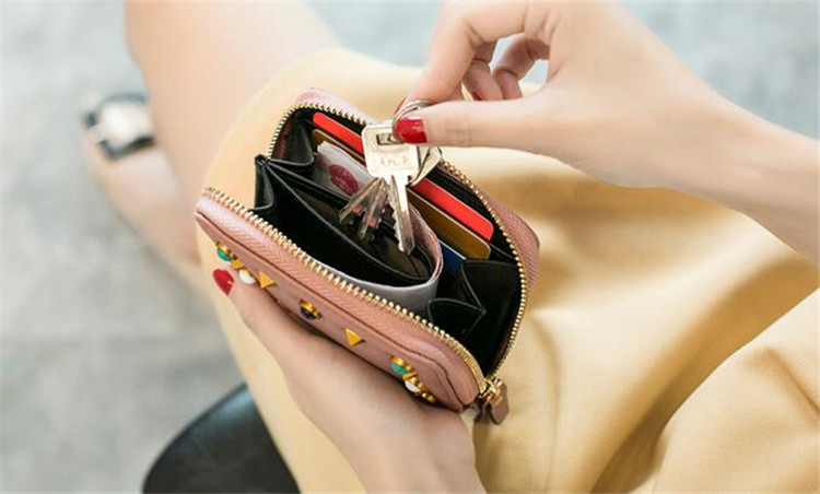 MJ Women Wallets Fashion Colorful Rivets PU Leather Zipper Coin Purse Card Holder Short Wallet with Chain Shoulder Strap (32)