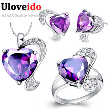Uloveido Heart Wedding Jewelry Sets Ring Necklace Earrings Set Kids Jewellery Sets for Women Girls 2017 Accessoires Mariage T068