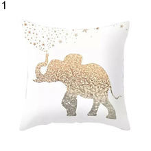 18 inch Golden Elephant Love Throw Pillow Case Home Decor Soft Cushion Cover(China)