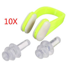 Hot 10Pcs Waterproof Soft Silicone Swimming Nose Clips + 2 Ear Plugs Earplugs  with a case box Set Pool Accessories Water Sports