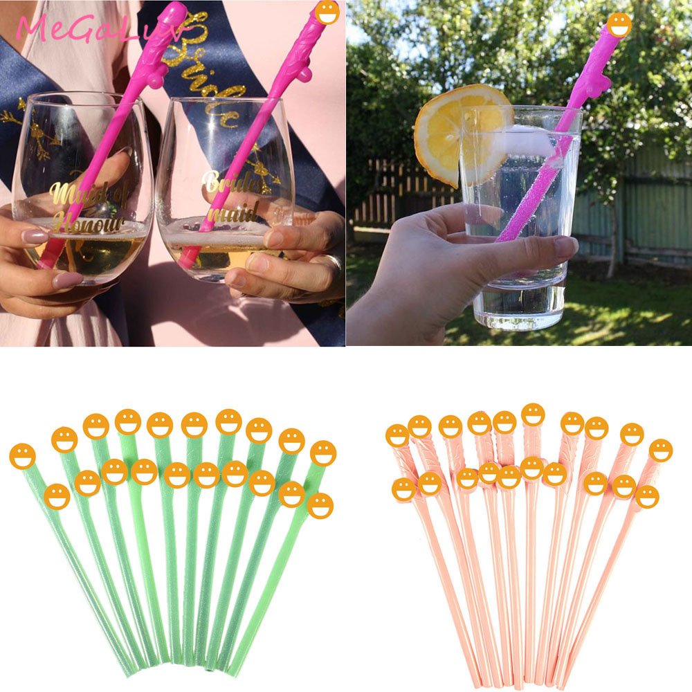 10pcs Funny Willy Plastic Dicky Sipping Straws Bachelorette Hens Party W