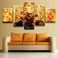 Modern Canvas HD Printed Painting Frame Room Home Decor 5 Piece Elephant Head God Poster Wall Art India Tibetan Ganesha Pictures(China)