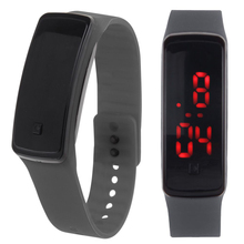 Fashion Digital LED Display Sports Jelly Silicone Band Men Women Wrist Watch(China)