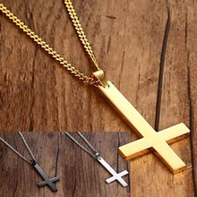 Male Black St Peter's Inverted Cross Pendant Necklace For Men Stainless Steel Choker Jewelry With Chain Necklace(China)