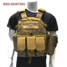 600D Nylon Molle Tactical Vest Body armor Hunting plate Carrier Airsoft 094K M4 Pouch Combat Gear Multicam (China)
