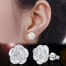 Fashion 1 Pair Romantic Flower Pattern Ear Stud Color Silver Plated Alloy Charming Jewelry EAR-0423