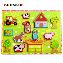 Baby Toys Large Cartoon Farm Rope Wooden Toys Child Educational Beads Toys Birthday Gift(China)