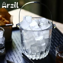 Ice Bucket Tong Set Transparent Glass Beer Champagne Wine Bucket Wine Cooler With Clip Ice Cube Clamp Kitchen Barware Tools(China)