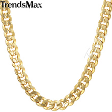 Trendsmax 9mm Hiphop Mens Gold Chain Necklace Curb Link Wholesale Dropship Jewelry GN57(Hong Kong)
