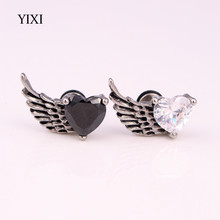 YIXI Gothic Zircon Angel Wings Stud Earrings Titanium Steel Cool Heart Shaped Feather Earrings For Women Men Fashion Jewelry(China)