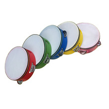 6 inch Wood Round Hand Held Tambourine with 5pcs Bell For Children Educational Musical Percussion Instruments(China)