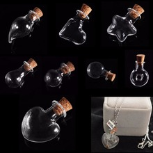 5PCS/set Mini Pendant Empty Tiny Clear Wishing Message Glass Bottles Vials Charms(China)
