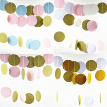 1Pcs! Pink White Gold Bunting Hanging Garland Valentine Birthday Party Wedding Shower Room Decoration Paper Round Circle String