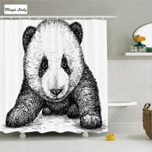Shower Curtain Animal Print Bathroom Accessories Panda Bear Asian Art Nature Wild Black White Decor 180*200 cm