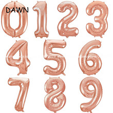 1pcs/lot 16inch Rose Gold Number Foil Balloons Wedding Decorations Birthday balloons Party Digit Helium Balloons Party Supplies(China)