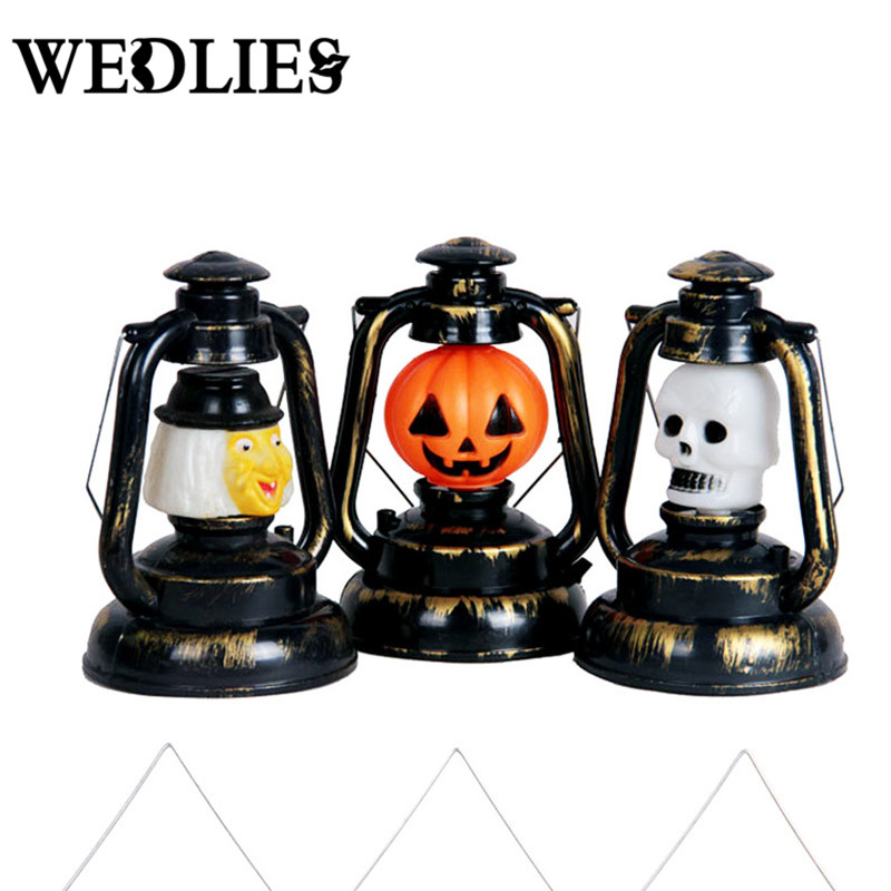 Pumpkin Skull Witch Halloween Lantern Plastic Table Lamp Light Halloween Party Events Decoration Crafts Home Bar KTV Ornaments(China)
