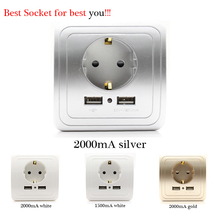 Best Dual USB Port 2000mA Wall Charger Adapter EU Socket With Usb Power Outlet Panel(China)