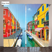 Curtains Europ Living Room Bedroom Cityscape Island Canal Venice Lagoon Gondolas Blue Orange Green 290x265 cm home