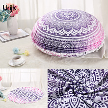 Urijk 1PC European Style Cushion Cover Round Printed Plush Balls Pillow Covers for Chair Sofa Winter Pillows Home Decorative