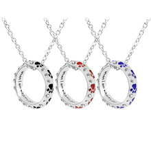 1PCS Pet Dog Claw Diamond Necklace When I Am with My Pet Animal Pet Ring Pendant Dog Paw Footprints  Jewelry Alloy