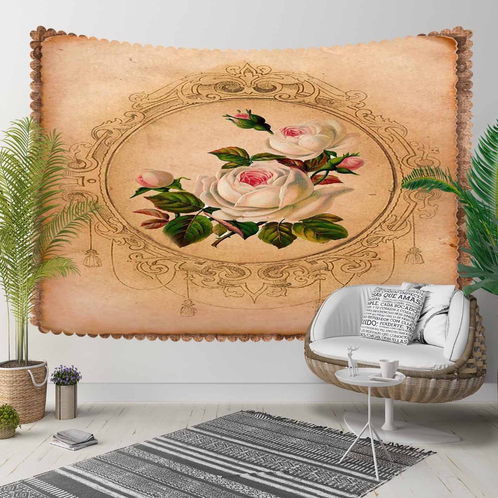 Tapestry Wall Hanging 3d-Print-Decorative Landscape Bohemian Vintage White Pink Floor title=