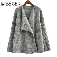 NIBESSER Sweater Cardigan Female Autumn Cashmere Knitting Cape Cardigans Leisure Long Sleeve Grey Christmas Sweaters Jackets Z30