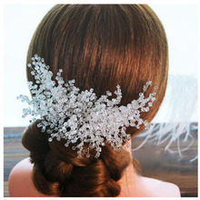 MHS.SUN bridal crystal beads hair combs elegant wedding hair accessories 1pcs/lot women rhinestone hairpins for party gift TN050