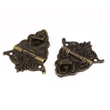 UXCELL Hinge Antique Style Wooden Case Jewelry Box Hasp Latch Bronze Tone 2 Set(China)
