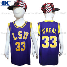 Kids Boy Shaquille O'neal Jersey LSU Tigers #33 Shaq Oneal College Basketball Jersey Youth Basket Uniforms Stitched For Children(China)