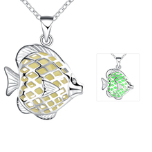 Lureme New Magical Glow in the Dark Luminous Cute Tropical Fish Pendant Necklace for Women Silver Plated Jewelry (01003870)(China)
