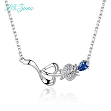 L&zuan S925 Silver Tanzanite Pendants Necklaces Classic rosettes Blue Natural Gemstones Sweater chain Fine Jewelry Party(China)