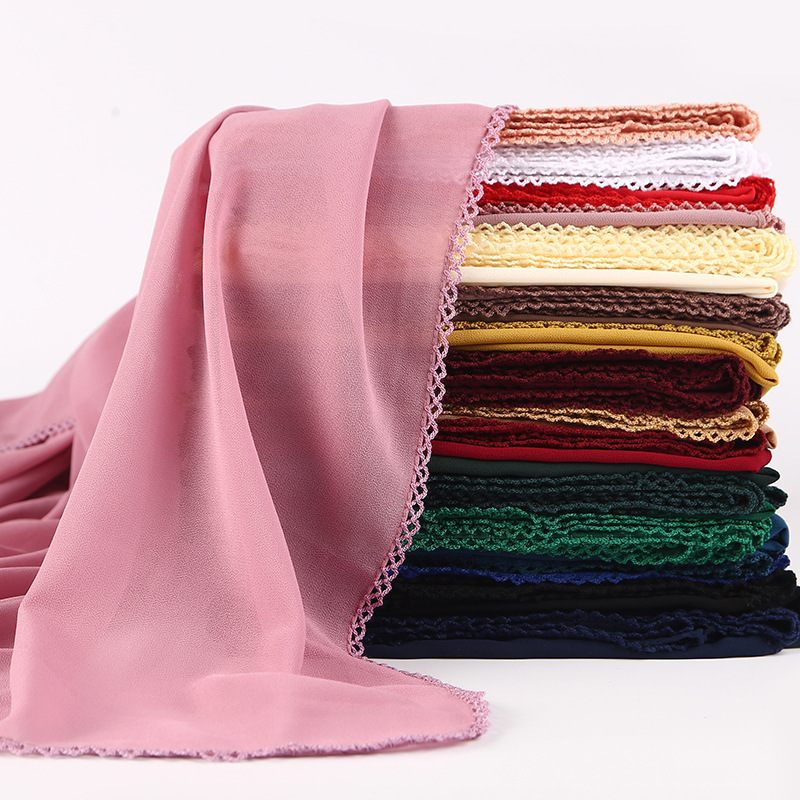10pcs/lot High Quality Women Plain Solid Color Bubble Chiffon Scarf Lace Border Muslim Hijabs Shawl Tudung Headscarf 180x75cm