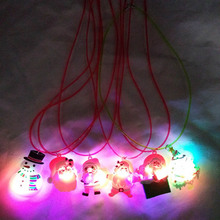 1pc LED Glow Necklace Toy Christmas Series Lighting Necklace X'mas Cartoon Flashing Necklace Merry Christmas Party Toy(China)