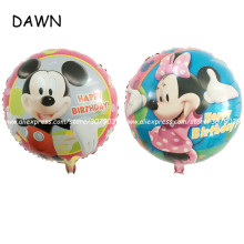 50pcs/lot 18inch round Mickey Minnie balloon birthday happy party decorated aluminum film balloon cartoon cartoon image balloon(China)