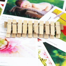 10pcs holesale Very Small Mine Size Natural Wooden Clips For Photo Clips Clothespin Craft Decoration Clips Pegs(China)